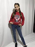 Модный детский свитшот на девочку с пайетками красный модный