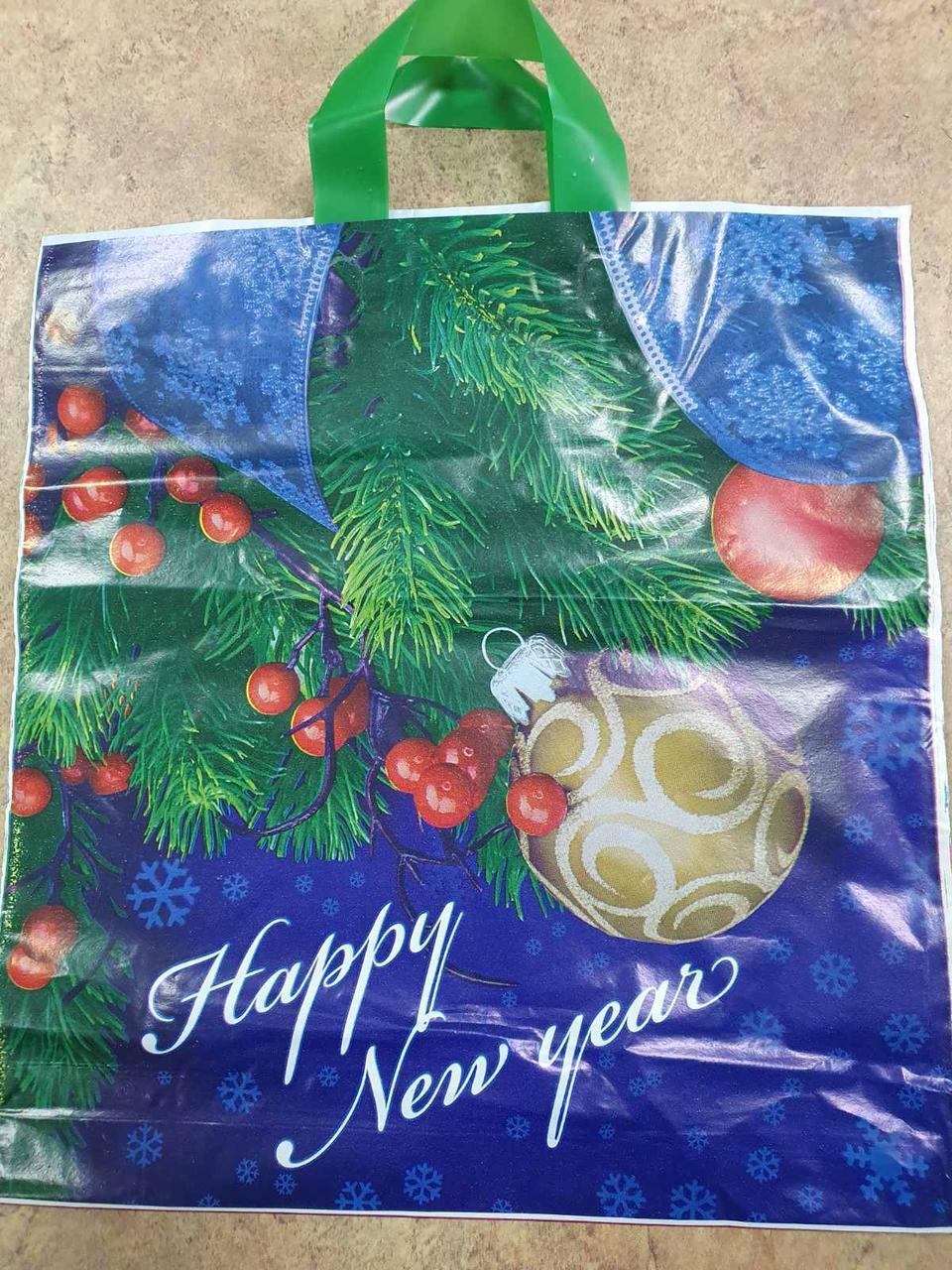 Новогодний пакет с петлевой ручкой 410*370 , 10 шт