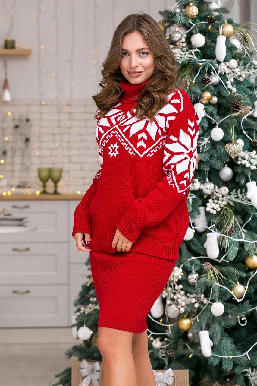Теплый костюм Снежка (красный, белый)