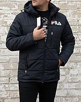 Куртка мужская зимняя осенняя демисезонная с капюшоном Fila  большие размеры стильная синяя на синтепоне 150