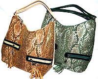 Женские сумки из лазерной кожи с двумя ручками и карманами спереди 34*34 см (зеленый и рыжий)