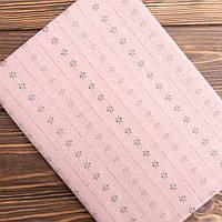 """Японский фактурный хлопок для пэчворка и кукол """"Цветочки на розовом"""", 25*35 см"""