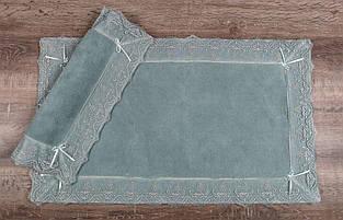 Набор ковриков для ванной комнаты с кружевами Maco berra murdum. Турция