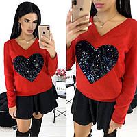 Кофта жіноча з серцем АА/-1302 - Червоний, фото 1