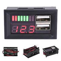 Индикатор заряда аккумулятора + вольтметр 12В + 2xUSB автомобильный