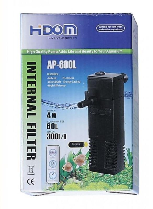 Внутрішній фільтр в акваріум Hidom Ap-600L (до 60 л) з флейтою і регулюванням потоку