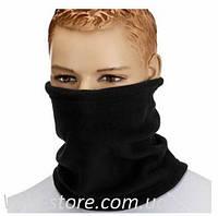 Флисовый теплый бафф (шарф рукав) черный, с затяжкой и фиксатором