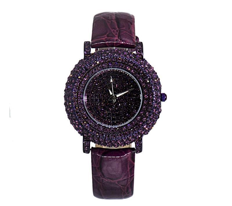 Женские кварцевые часы c кристаллами Swarowski violet