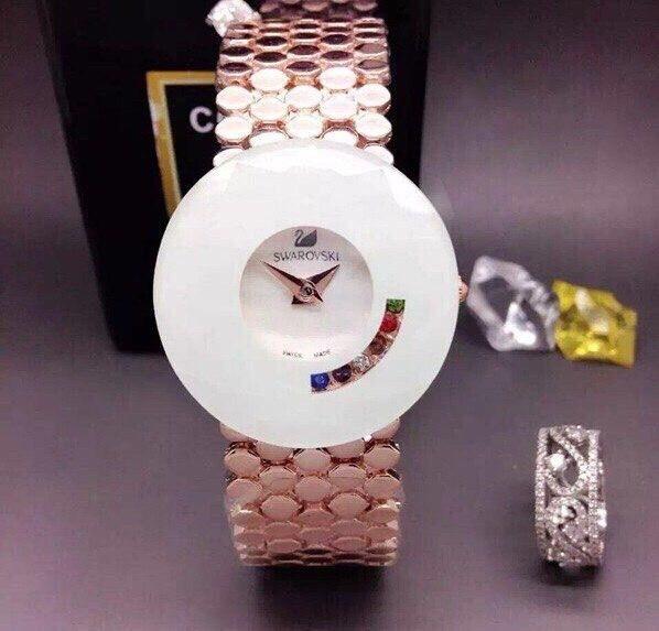 Часы с камнями в стиле Swarovski White