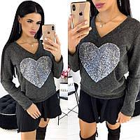 Кофта жіноча з серцем АА/-1302 - Графіт, фото 1