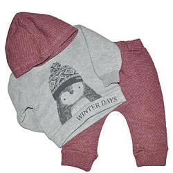 Детский трикотажный костюм с капюшоном на флисе ,6-18 мес. (3 ед в уп)