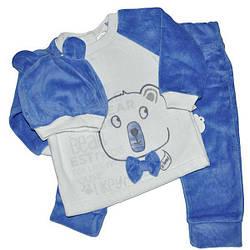 Детский велюровый костюмчик на кнопках, размер 6-18 мес (3 ед. в уп. )