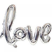 Фольгований напис Love срібний 105х65см Китай