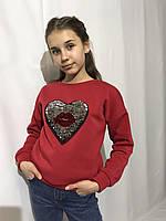 Модный детский тёплый свитшот на девочку с пайетками красный