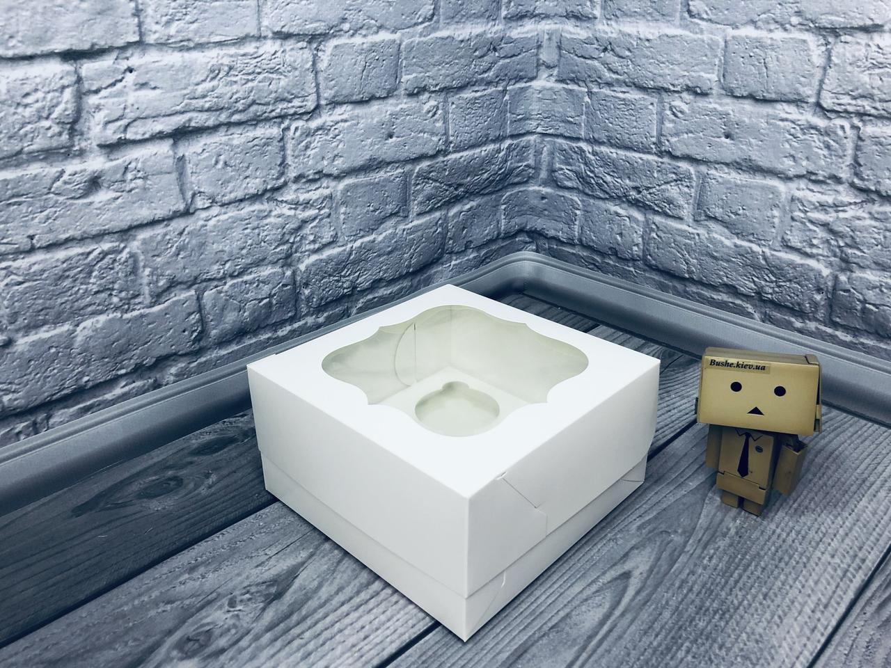 *10 шт* / Коробка для 4-ох кексов / 170х170х90 мм / Белая / окно-обычн