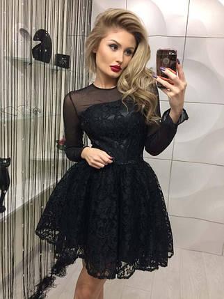 Праздничное платье из гипюра с пышной юбкой /черное, 42-44, ft-324/, фото 2