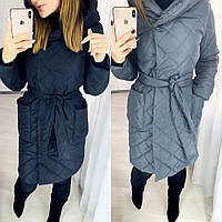Куртка - пальто женское зимнее, плотная плащевка, на синтепоне 250, с капюшоном и карманами, норма и батал, фото 1