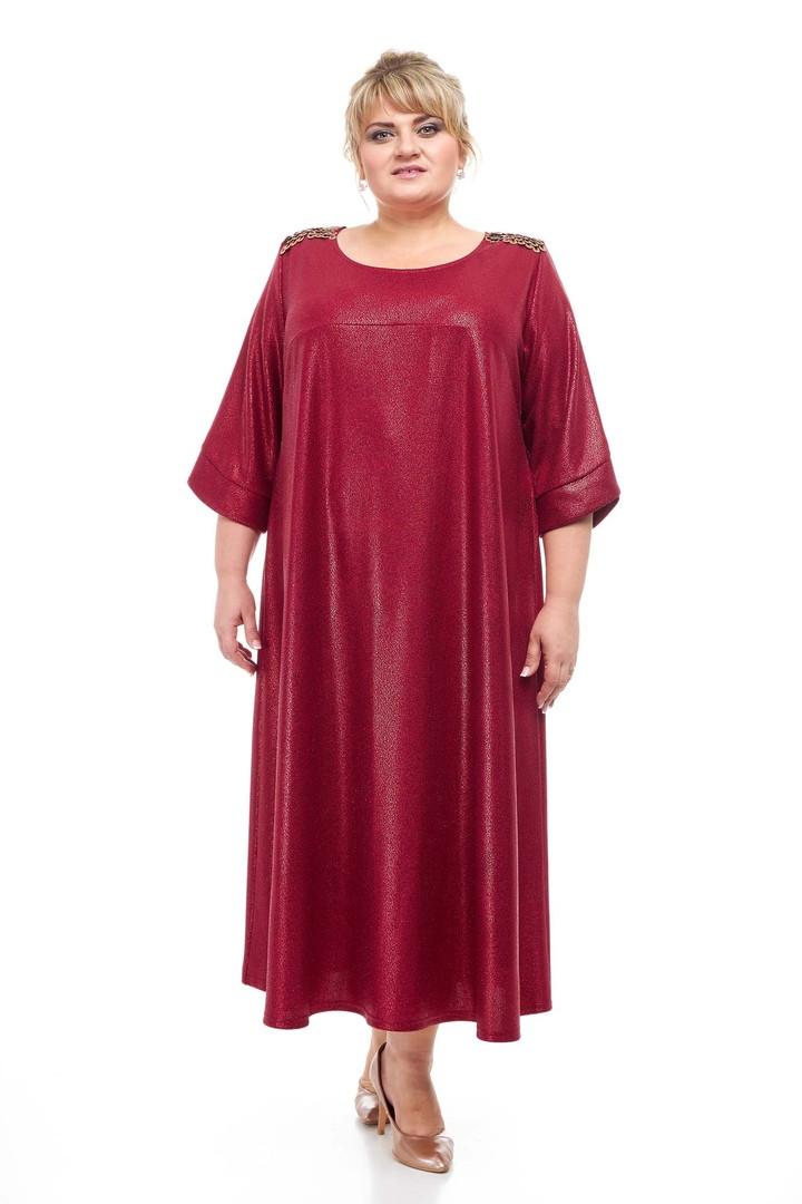 Яркое платье размера плюс Сирена марсала (66-72)