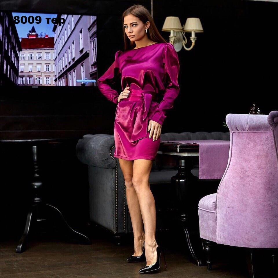 Платье атласное с длинным рукавом 8009 тер