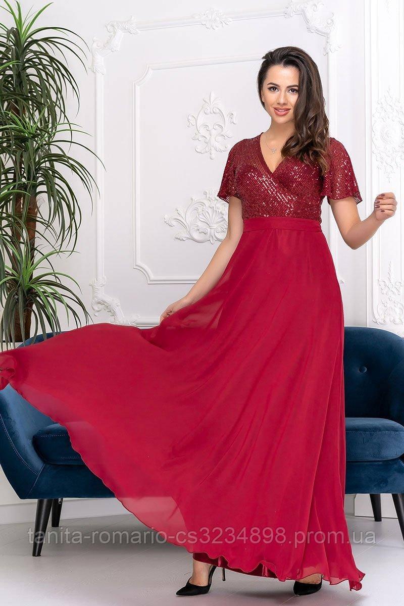 Вечернее платье 9158e Бордовый