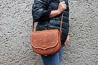 Кожаная женская сумка, оранжевая сумочка, сумка через плечо, фото 1