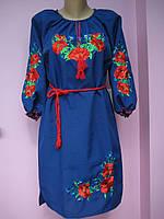 Вышитое женское платье с длинным рукавом от 46р до 56р
