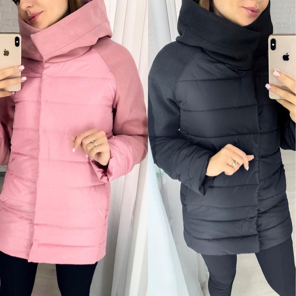Куртка женская зимняя, плотная плащевка, на синтепоне 300, с капюшоном и карманами, ровная, от 42 до 52 р-ра