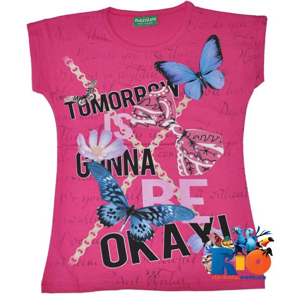 """Детская футболка """"Okay"""" , из х/б трикотажа , для девочек 1-2 ; 3-4 ; 5-6 ; 7-8 лет"""