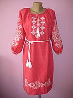 Вышитое женское платье с длинным рукавом от 46р до 56р Орнамент много цветов