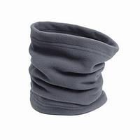 Флисовый теплый бафф (шарф рукав) серый, с затяжкой и фиксатором