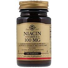 """Ніацин (вітамін В3), SOLGAR """"Niacin (Vitamin B3)"""" нікотинова кислота, 100 мг (100 таблеток)"""
