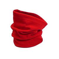 Флисовый теплый бафф (шарф рукав) красный, с затяжкой и фиксатором