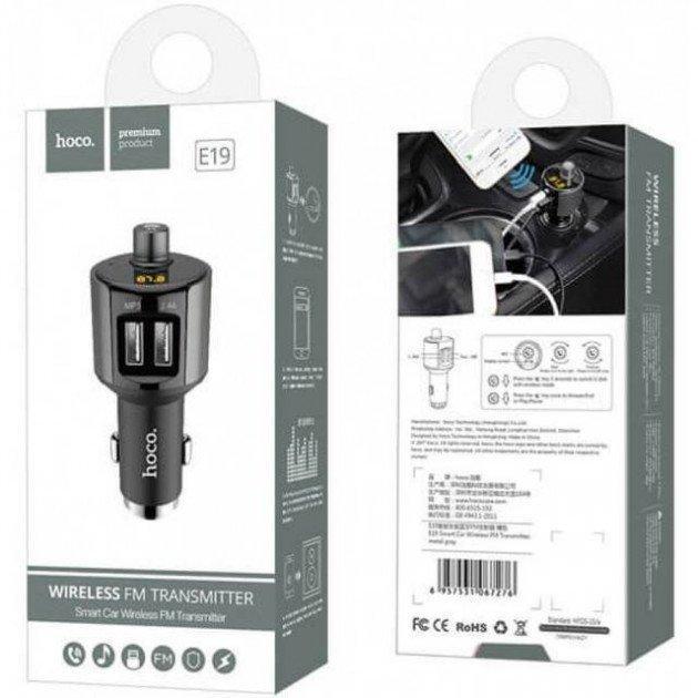 FM-трансмиттер, модулятор Hoco E19 Bluetooth 2 USB зарядное