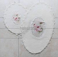 Набор ковриков для ванной комнаты с кружевами 3D Chilai beliy. Турция