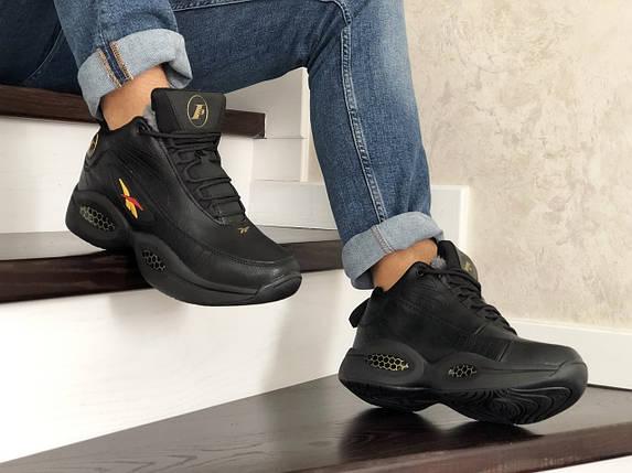 Мужские кроссовки прессованная кожа зимние черные 15\8632, фото 2