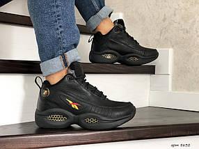 Мужские кроссовки прессованная кожа зимние черные 15\8632, фото 3