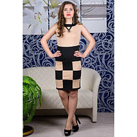 Платье Шахматка (бежевый)   оптовая цена