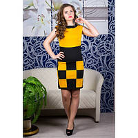 Платье Шахматка (горчица)   оптовая цена