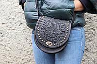 """Женская кожаная чёрная сумка """"Калина"""" ручной работы с металлом, фото 1"""