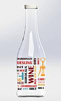 """Бутылка стеклянная Everglass """"Грааль"""" 1000 мл для напитков с декором """"Вино"""" и металлической крышкой твист -офф"""