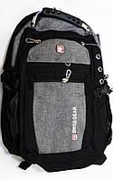 Рюкзак городской спортивный Swissgear 6621 черный с серым с выходом USB/ AUX + дождевик