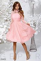 Вечернее платье миди с сеткой пудровое