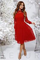 Вечернее платье миди с сеткой красное