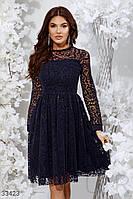 Вечернее платье миди с сеткой темно-синее