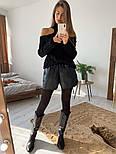 Женский вязаный ажурный свитер под горло с открытыми плечами (в расцветках), фото 2