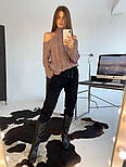 Женский вязаный ажурный свитер под горло с открытыми плечами (в расцветках), фото 3