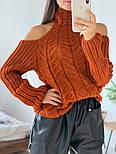 Женский вязаный ажурный свитер под горло с открытыми плечами (в расцветках), фото 9