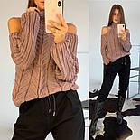 Женский вязаный ажурный свитер под горло с открытыми плечами (в расцветках), фото 10