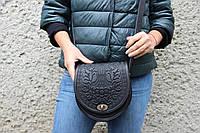 Женская черная кожаная сумка ручной работы полукруглая