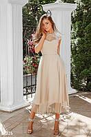 Нарядное приталенное платье длины миди с кружевом бежевое